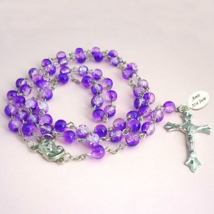 Rosary Beads in Purple with Engraving